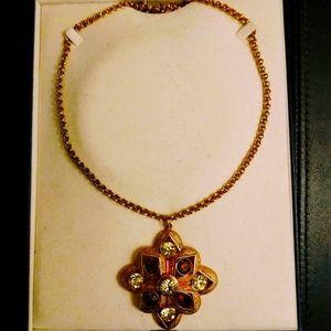 Stylish Gold Peridot Chocolate Crystal Necklace.